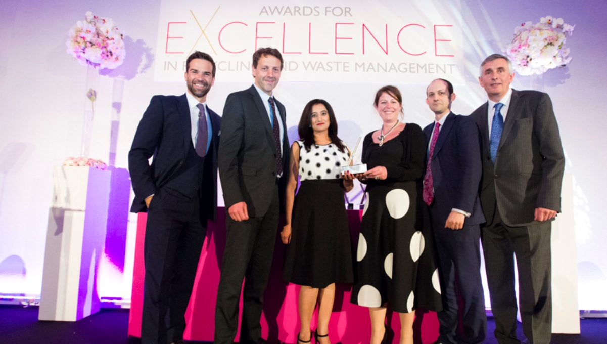 The Greatmoor Team receiving the award from Jacob Haylor (ESA)