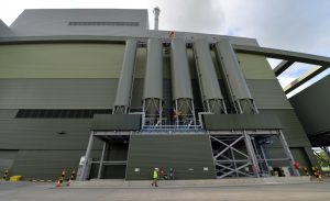 The silos contain the materials used in treating the flue gas and the resulting Air Pollution Control Residue